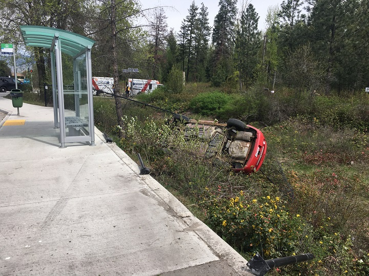 One man is in custody after attempting to flee the scene of a car crash, in Kelowna.