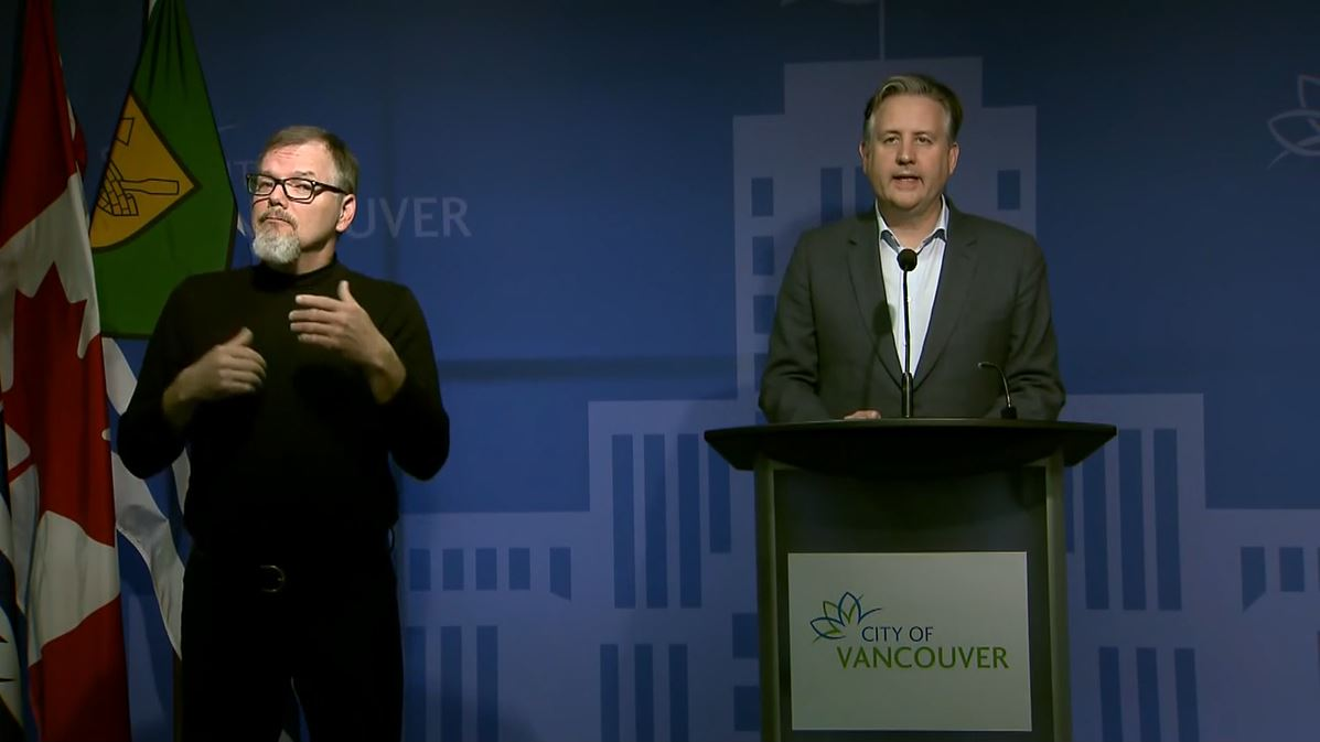 Mayor Kennedy Stewart discussed measures to protect residents of the Downtown Eastside at a news conference on April 3, 2020.