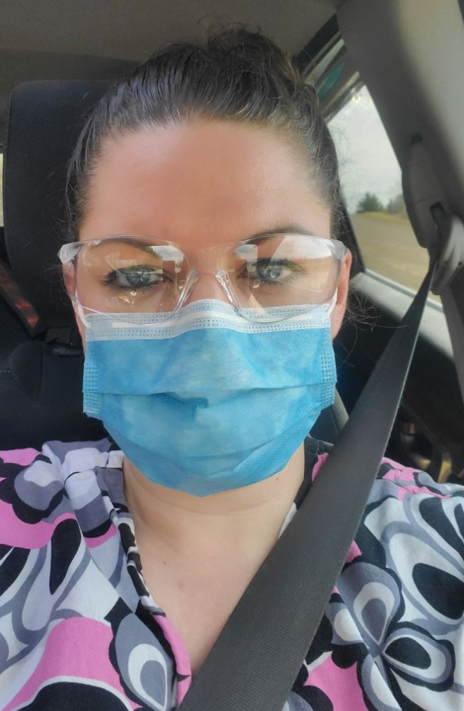 Kristen Beaton posted this photo of herself on Saturday,  calling for personal protective equipment for front-line workers during the COVID-19 pandemic.
