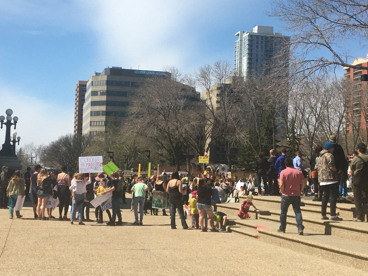 Protesters gathered at the Alberta legislature  to protest COVID-19 restrictions on Wednesday, April 29, 2020.