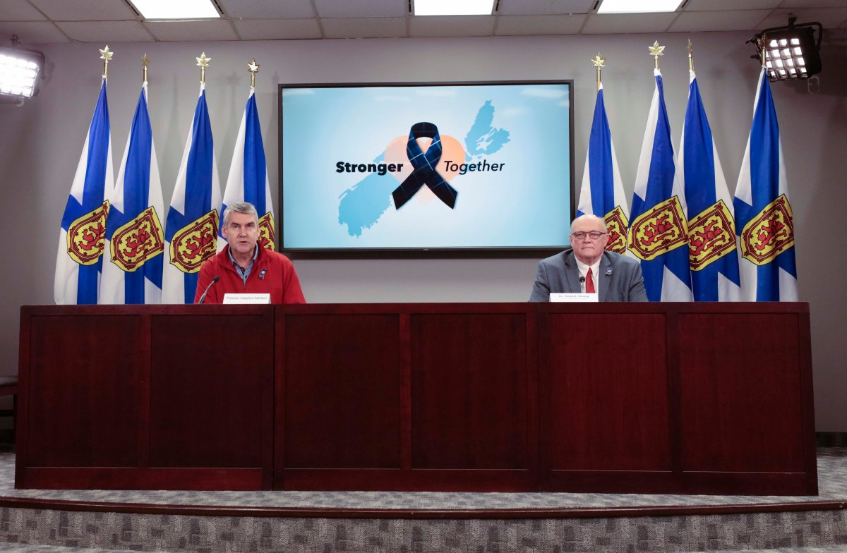 Nova Scotia Premier Stephen McNeil and chief public health officer Dr. Robert Strang speak at a press briefing in Halifax on Friday, April 24, 2020.