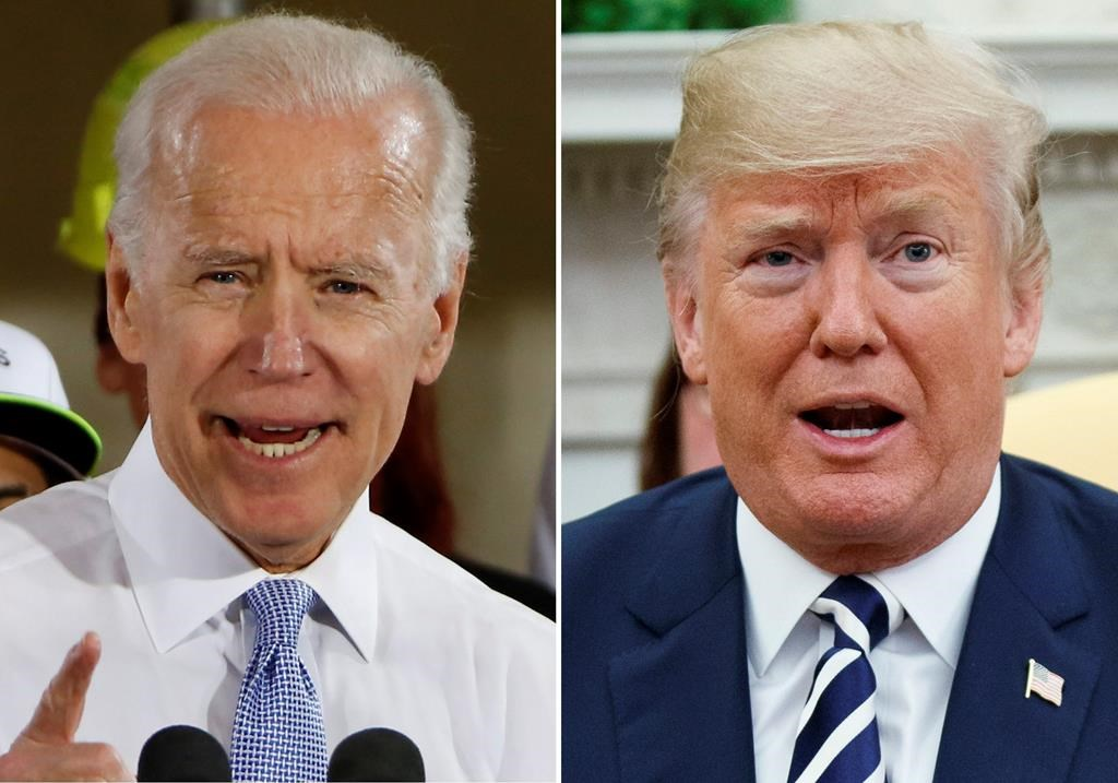 FILE - In this combination of file photos, former Vice President Joe Biden speaks in Collier, Pa., on March 6, 2018, and President Donald Trump speaks in the Oval Office of the White House in Washington on March 20, 2018. For a moment, West Virginia looked like it was going to be the only state in the country to allow betting on the presidential election. The short-lived play by bookmaker giant FanDuel was approved by the state lottery board. But it was announced and nixed within the span of about two hours Tuesday, April 7, 2020 in a bizarre sequence that appeared to baffle top government officials. Republican Gov. Jim Justice said it was ridiculous and he didn't know why the lottery commission would approve such a deal. (AP Photo).