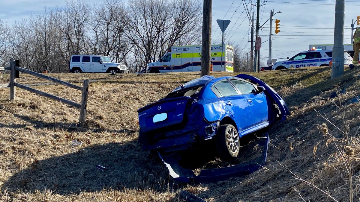 Ottawa paramedics say three men were seriously injured and taken to hospital after this car crashed at the intersection of Bearbrook Road and St. Joseph Boulevard in the city's east end.