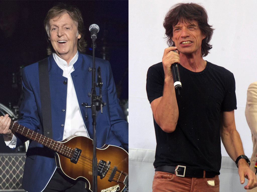 (L-R) Paul McCartney, formerly of the Beatles, and Mick Jagger of the Rolling Stones.