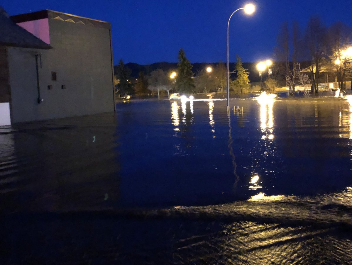 Flash flooding in downtown Peace River April 18, 2020 prompted an Alberta Emergency Alert.
