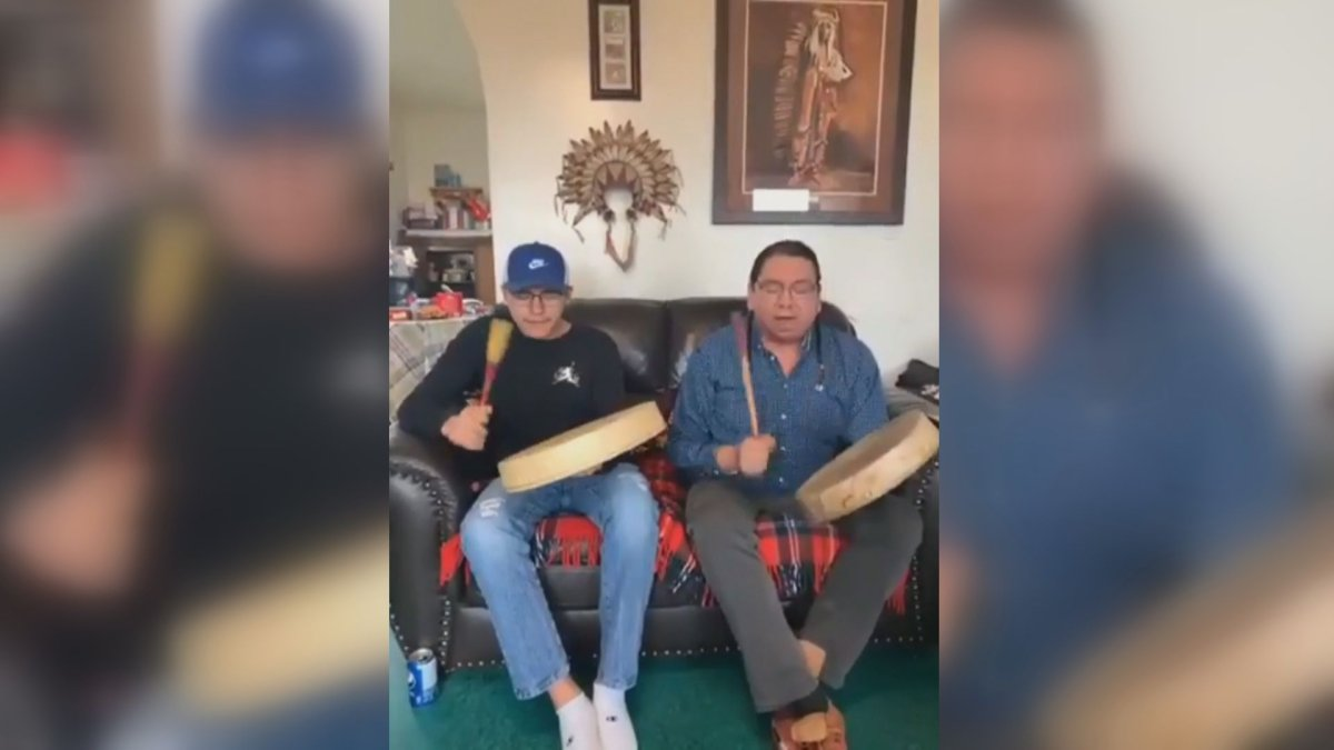 Drummers from the Siksika First Nation perform live on the Social Distance Powwow page from the safety of their home on April 25.