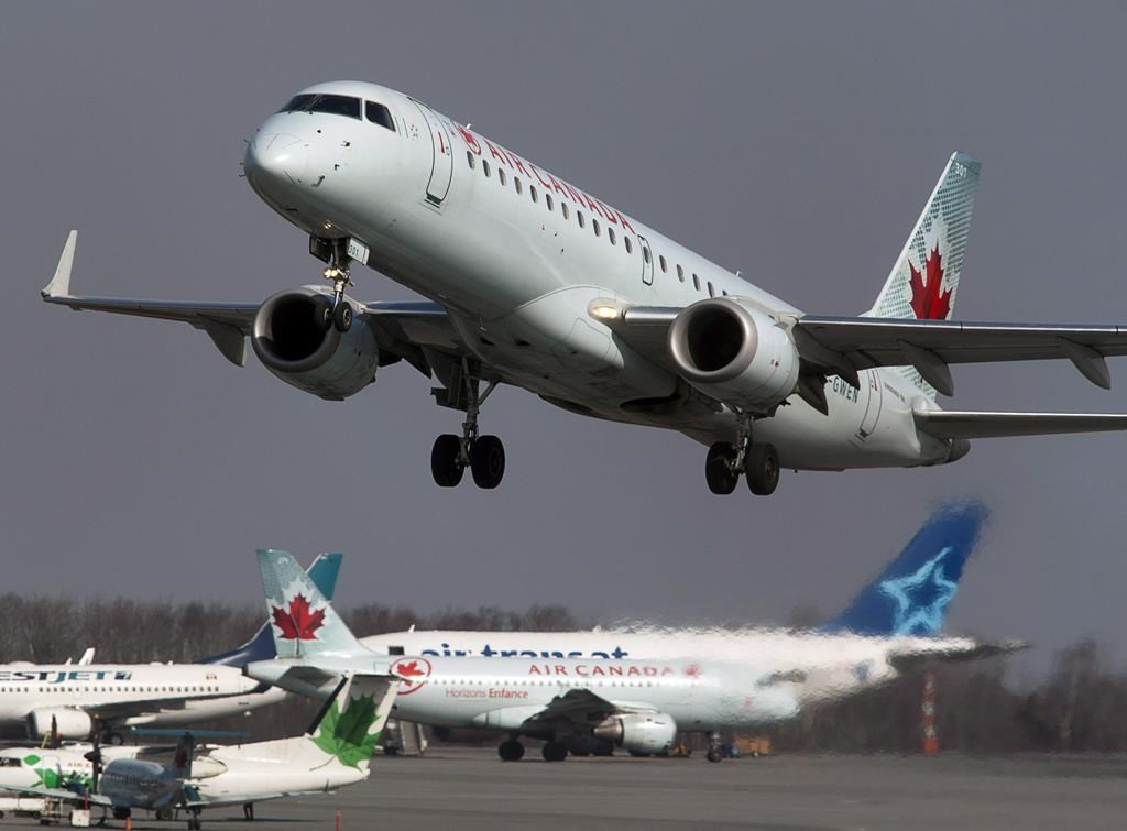 An Air Canada jet takes off from Halifax Stanfield International Airport in Enfield, N.S. on Thursday, March 8, 2012. Air Canada, which has cut roughly half its Canadian workforce, says it will apply for Ottawa's emergency wage subsidy program and retain or return affected employees to its payroll for the program term.THE CANADIAN PRESS/Andrew Vaughan.