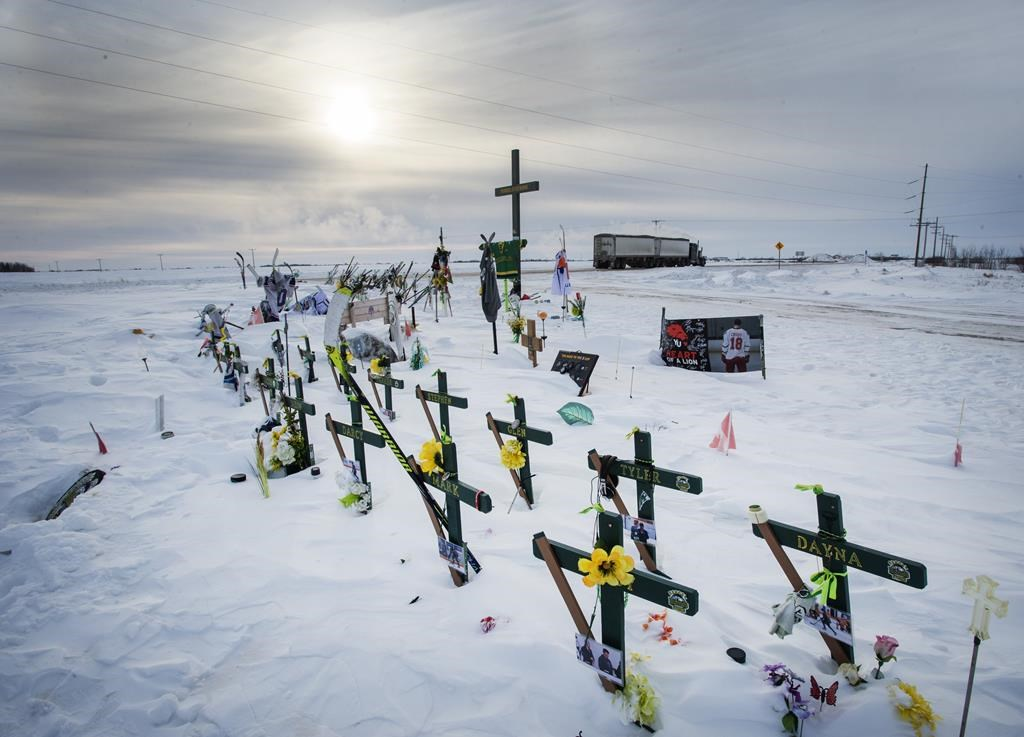 The memorial for the Humboldt Broncos hockey team at the site where sixteen people died and thirteen injured when a truck crashed into the team bus Wednesday, January 30, 2019 in Tisdale, Sask. The second anniversary of a devastating Saskatchewan bus crash will be a quiet one for the families involved because of the COVID-19 pandemic.