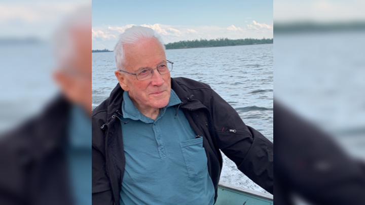 Ron Mackay is seen riding a boat on Lac La Ronge.