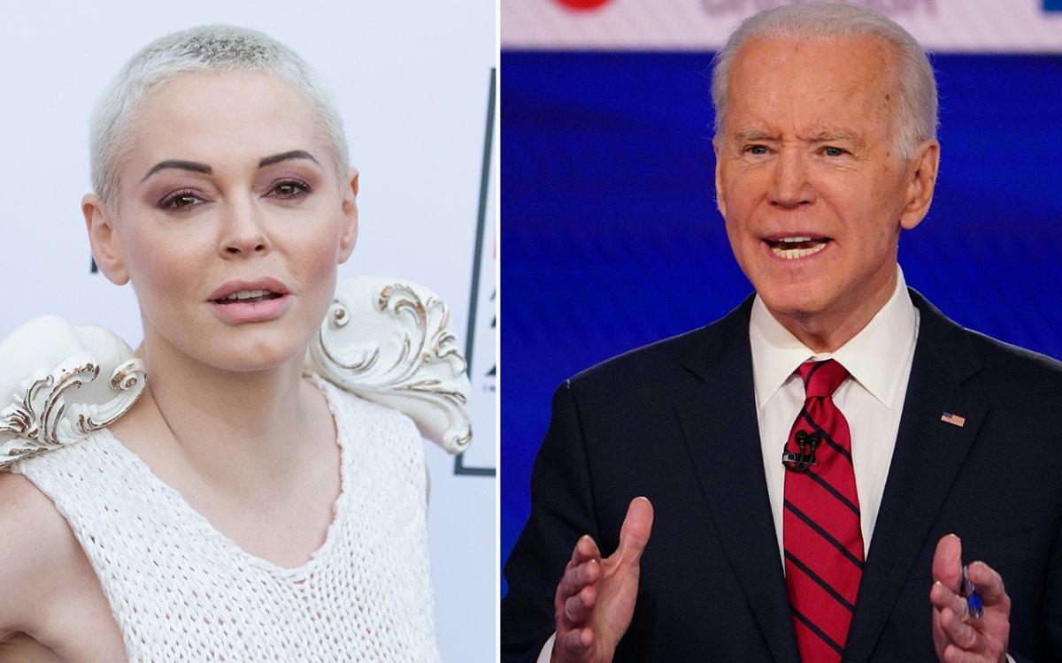 (L-R): Rose McGowan and Joe Biden.