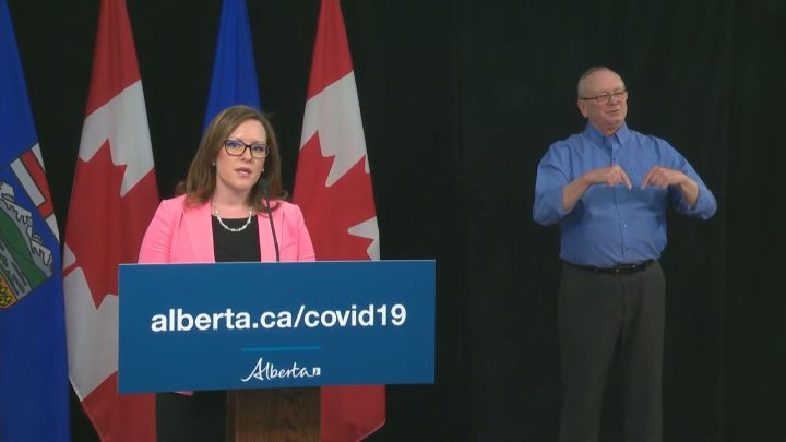 Children's Services Minister Rebecca Schulz speaks at a news conference in Edmonton on April 21, 2020.