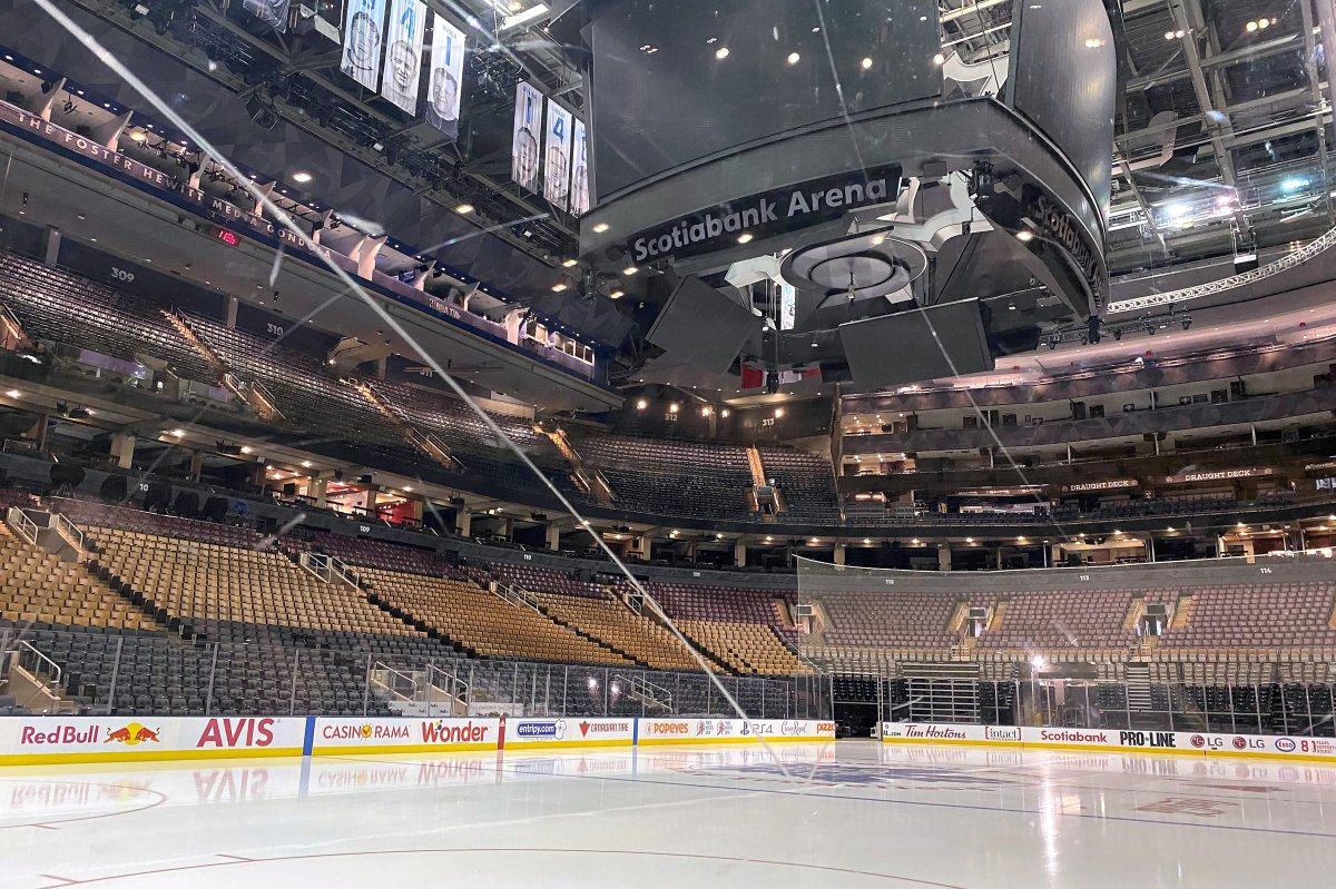 Fresh surfaced ice at Scotiabank Arena, home of the NHL's Toronto Maple Leafs.