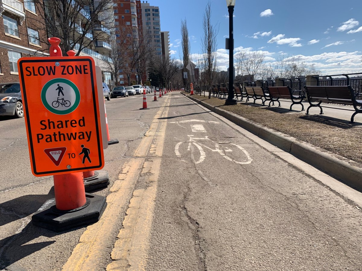Some roadways and bike paths in Edmonton have been adjusted to promote social distancing through COVID-19.