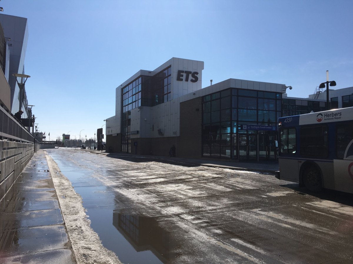 The Southgate transit centre in south Edmonton. Pictured on April 6, 2020.