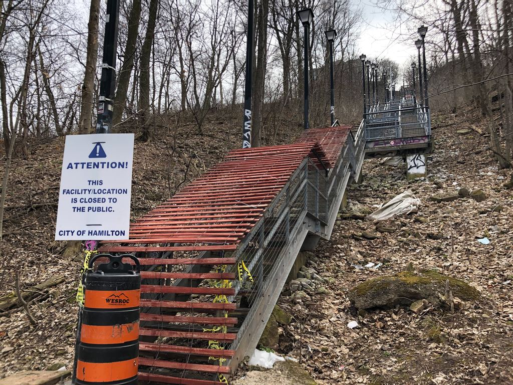 People have already been ticketed for using closed escarpment stairs, trails and golf courses in Hamilton, Ont., during the coronavirus pandemic.