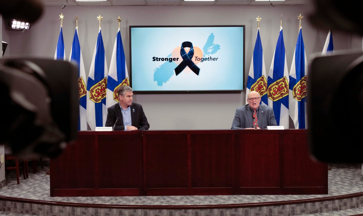 Premier Stephen McNeil and chief public health officer Dr. Robert Strang speak at a press briefing in Halifax on Wednesday, April 29, 2020.