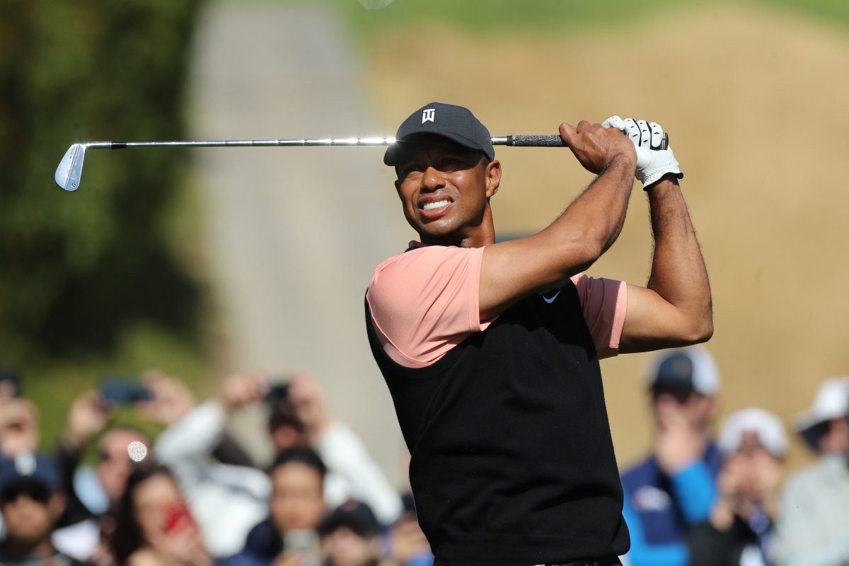 Tiger Woods of the US competes in round one of the Genesis Invitational at The Riviera Country Club in Pacific Palisades, California, USA, 13 February 2020.