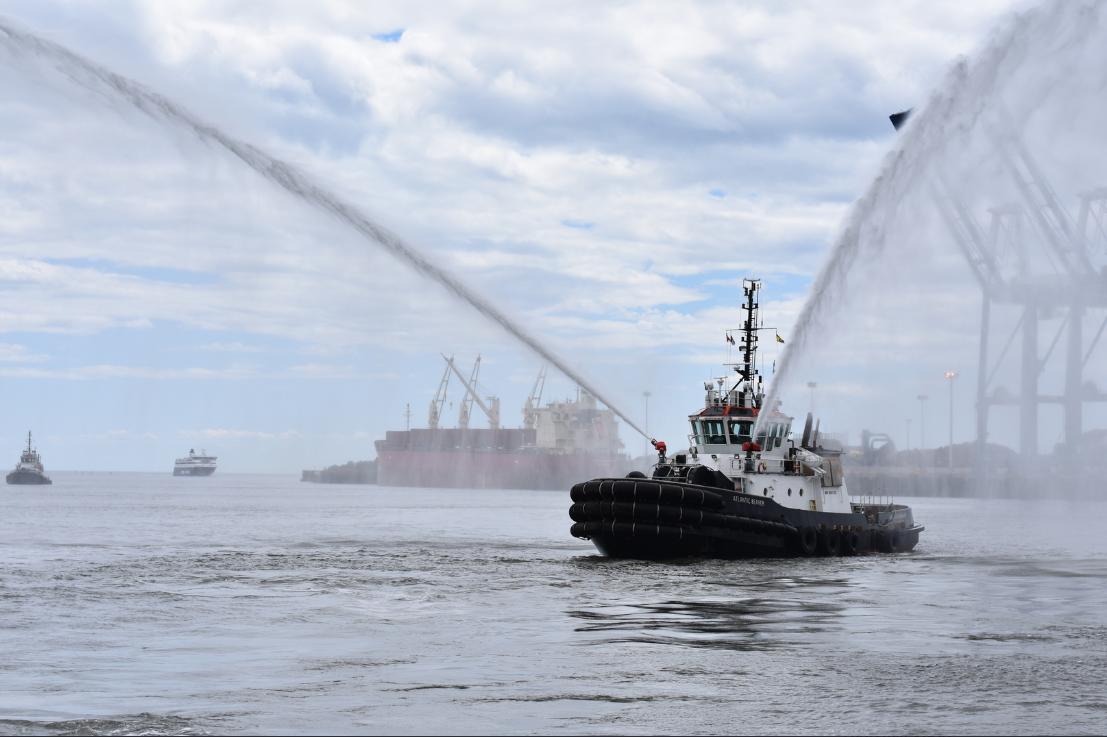 Atlantic Towing tug in a water display.