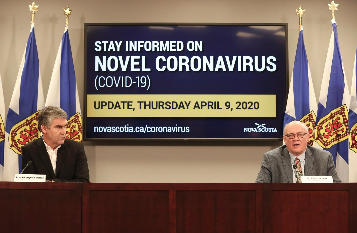 Nova Scotia Premier Stephen McNeil and chief public health officer Dr. Robert Strang speak at a press briefing in Halifax on Thursday, April 9, 2020.