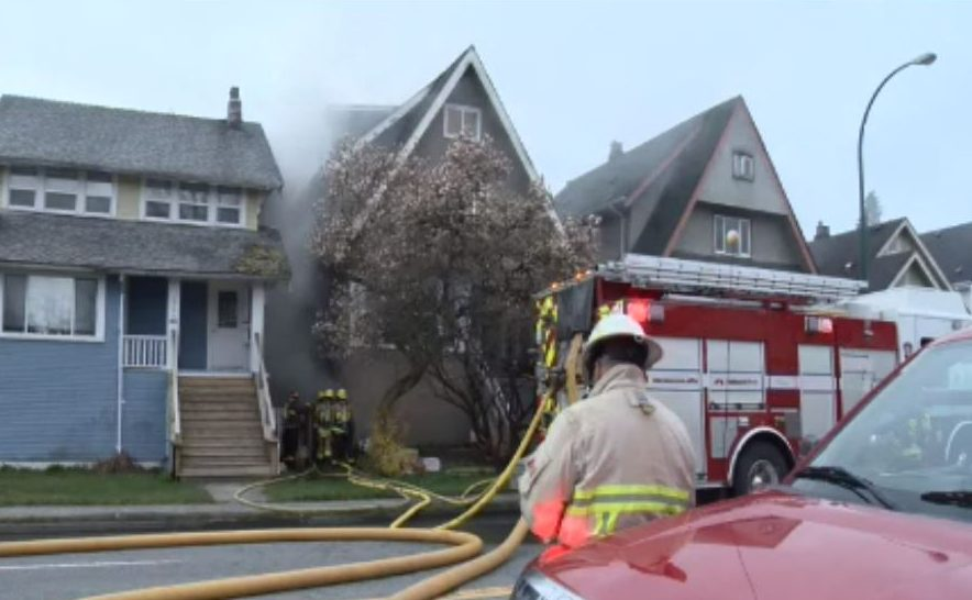 Vancouver fire crews at the scene of a house fire in East Vancouver April 5, 2020, one of two fires crews attended this morning.