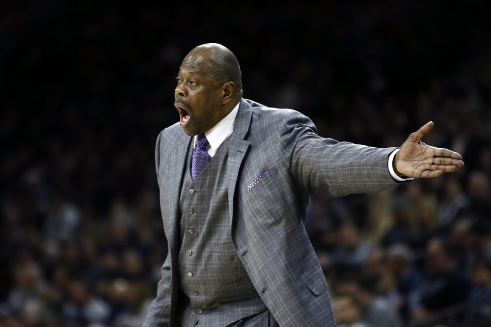 FILE - In this Saturday, Jan. 11, 2020, file photo, Georgetown head coach Patrick Ewing yells to his team during the first half of an NCAA college basketball game against Villanova, in Philadelphia. In a statement issued by Georgetown on Friday, May 22, 2020, Ewing has tested positive for COVID-19.