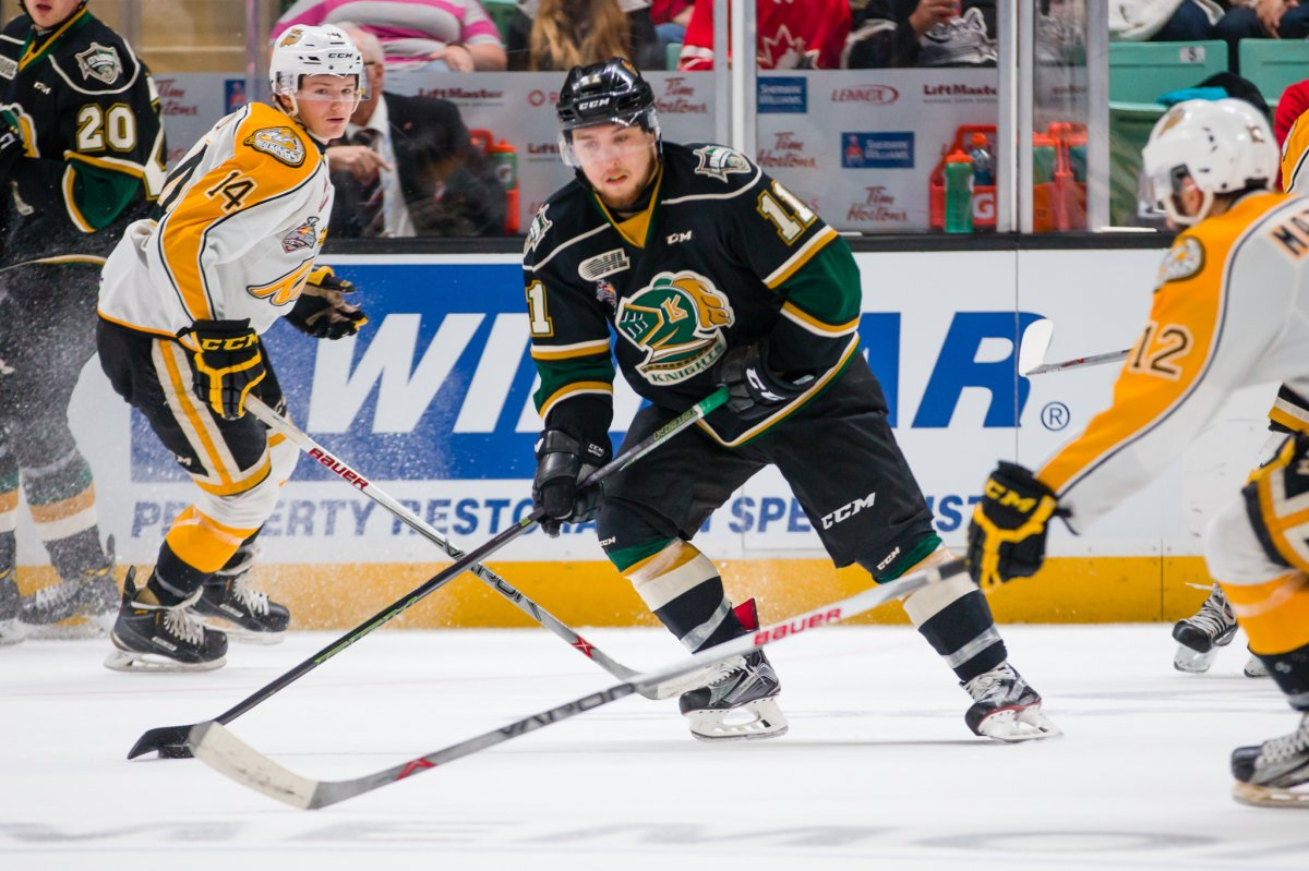 Action from Game 4 of the 2016 MasterCard Memorial Cup between the London Knights and Brandon Wheat Kings in Red Deer, AB on Monday May 23, 2016. Photo by Rob Wallator/CHL Images.