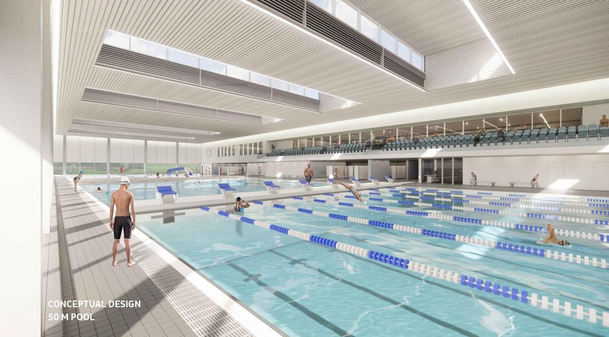 A conceptual design for a proposed new recreation facility in Vernon.