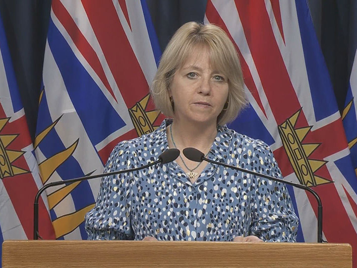 Provincial health officer Dr. Bonnie Henry looks on while releasing the latest COVID-19 statistics in British Columbia at a recent daily briefing. On Wednesday, the province released its daily statistics.