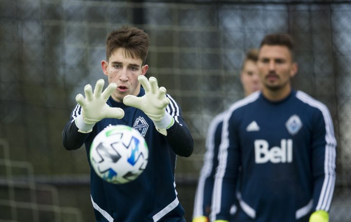 Whitecaps' Thomas Hasal (left) at a team training session in Vancouver, B.C., in January 2019.