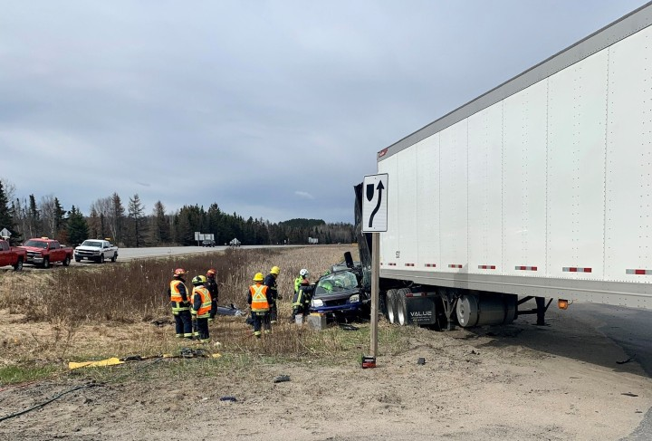 Huntsville OPP say they're investigating a two-vehicle crash that took place on Highway 11 Thursday morning.