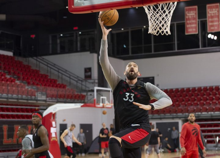 Toronto Raptors Marc Gasol goes to the basket during the Raptors training camp practice Monday, September 30, 2019 at Laval University in Quebec City.