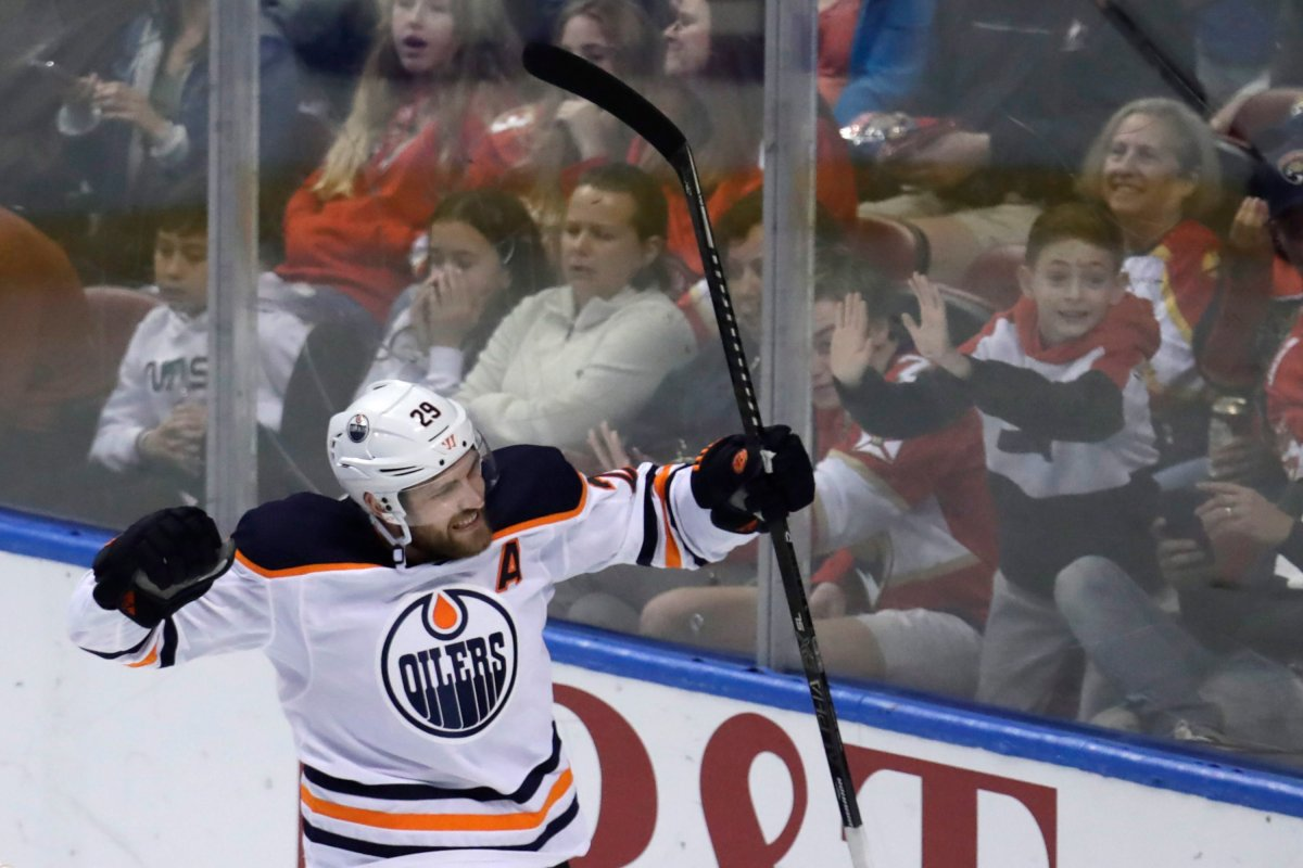 Edmonton Oilers center Leon Draisaitl (29) celebrates after scoring a goal during the third period of an NHL hockey game against the Florida Panthers, Saturday, Feb. 15, 2020, in Sunrise, Fla. (AP Photo/Lynne Sladky).
