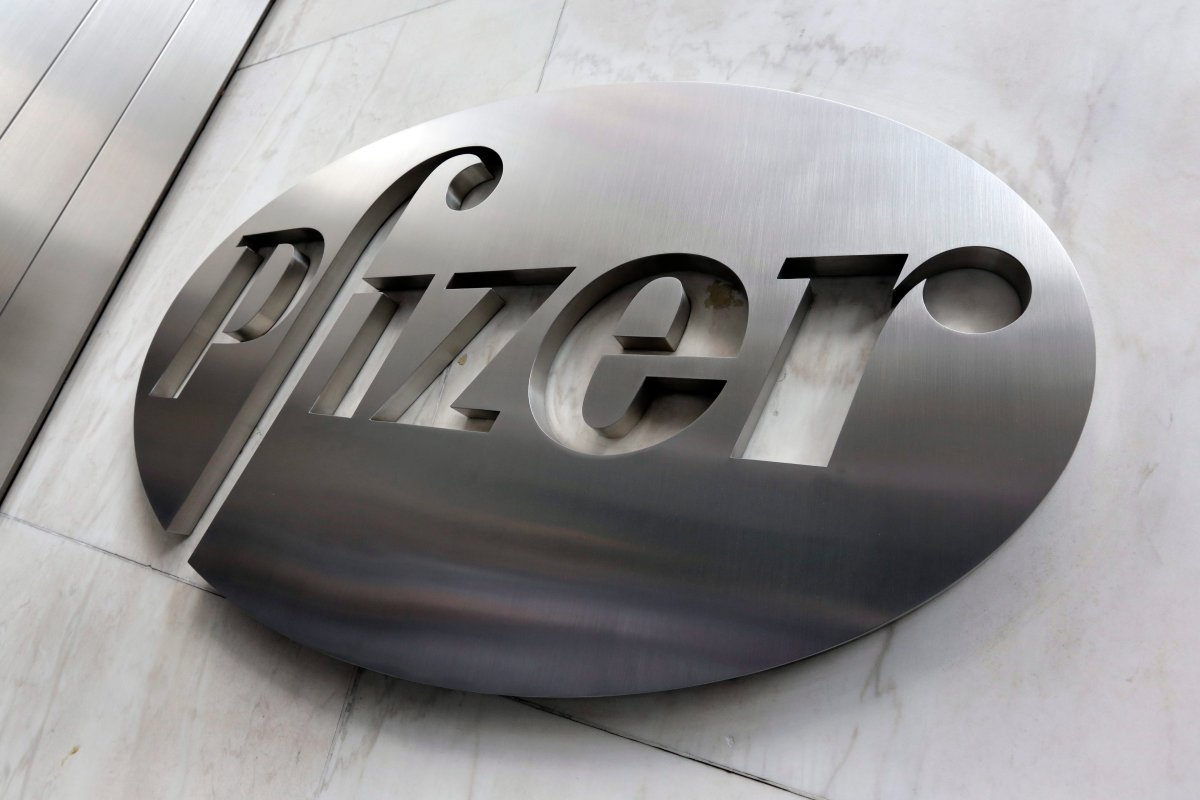 This Monday, Dec. 4, 2017, photo shows the Pfizer company logo at the company's headquarters in New York.