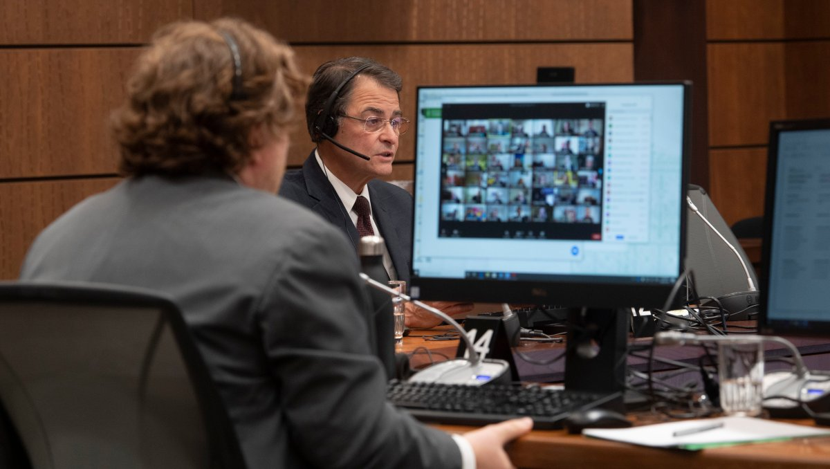 Speaker of the House of Commons Anthony Rota speaks during a virtual session of Parliament Tuesday April 28, 2020 in Ottawa.