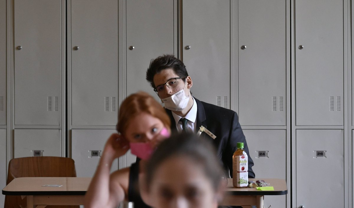 Students wearing face masks are seen in this file photo.