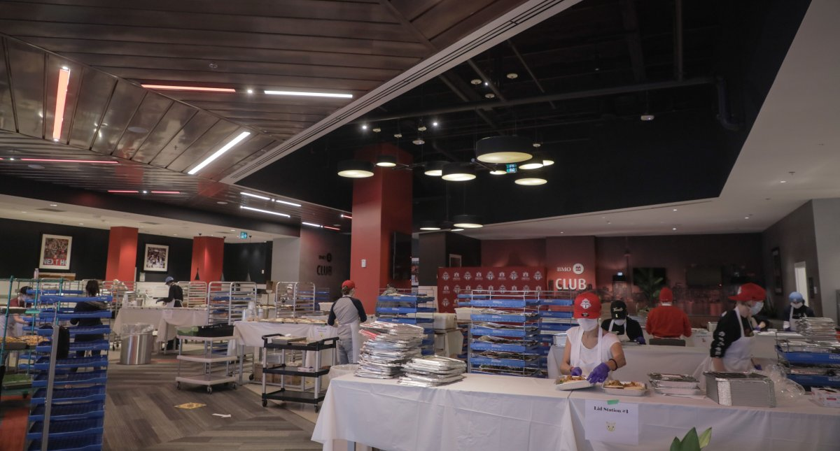 Meals are assembled at BMO Club at BMO Field in Toronto in a handout photo. Having already turned Scotiabank Arena into a giant kitchen, Maple Leaf Sports & Entertainment is adding BMO Field to the cooking mix.