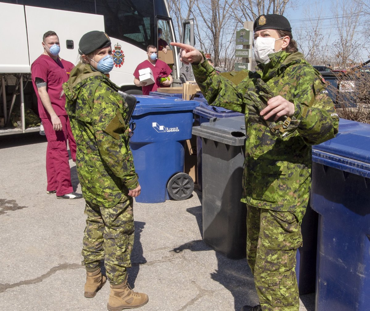 Canadian Armed Forces personnel arrive at the Villa Val des Arbes seniors' residence, Monday, April 20, 2020 in Laval, Que.