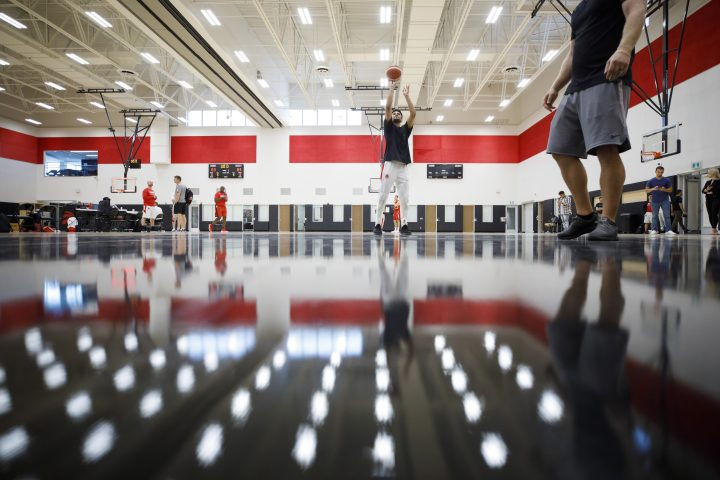 The Canadian men's basketball team practice at the OVO Athletic Centre in Toronto, Monday, Aug. 5, 2019. The Toronto Raptors say players will be allowed access to the OVO Athletic Centre starting next week for individual workouts.