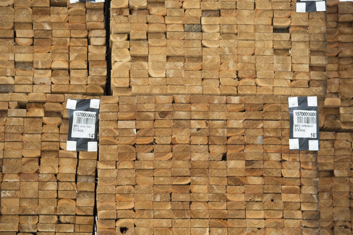 Fresh cut lumber is pictured stacked at a mill along the Stave River in Maple Ridge, B.C. on April 25, 2019.