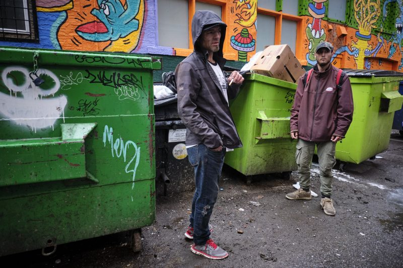 Gordon Kelter, left, who is homeless in Calgary, Alta., Wednesday, May 20, 2020, amid a worldwide COVID-19 pandemic.