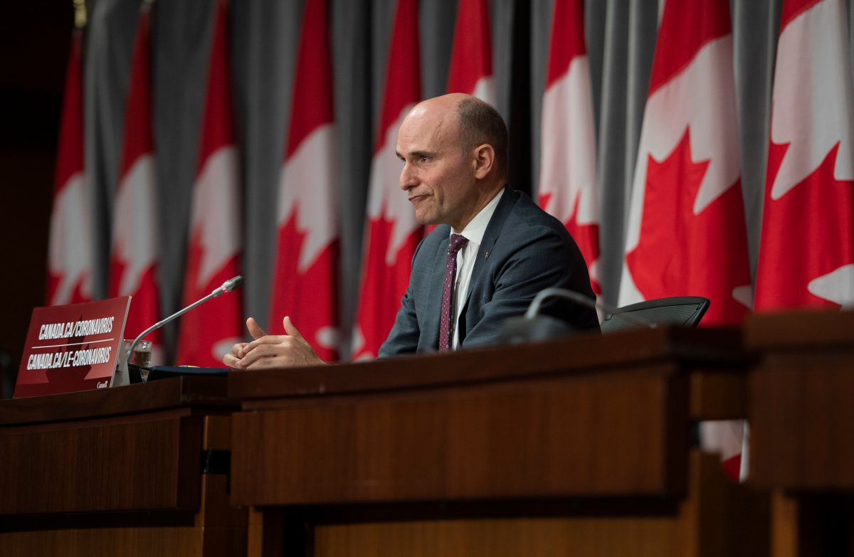 President of the Treasury Board Jean-Yves Duclos speaks during a news conference on the COVID-19 pandemic in Ottawa, on Wednesday, May 27, 2020.