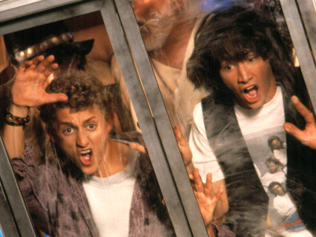 Alex Winter and Keanu Reeves in 'Bill & Ted's Excellent Adventure' (1989).