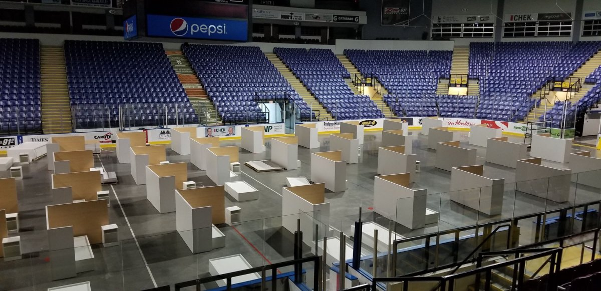 Pods are set up on the rink at the Save-On-Foods Memorial Centre in Victoria, B.C.