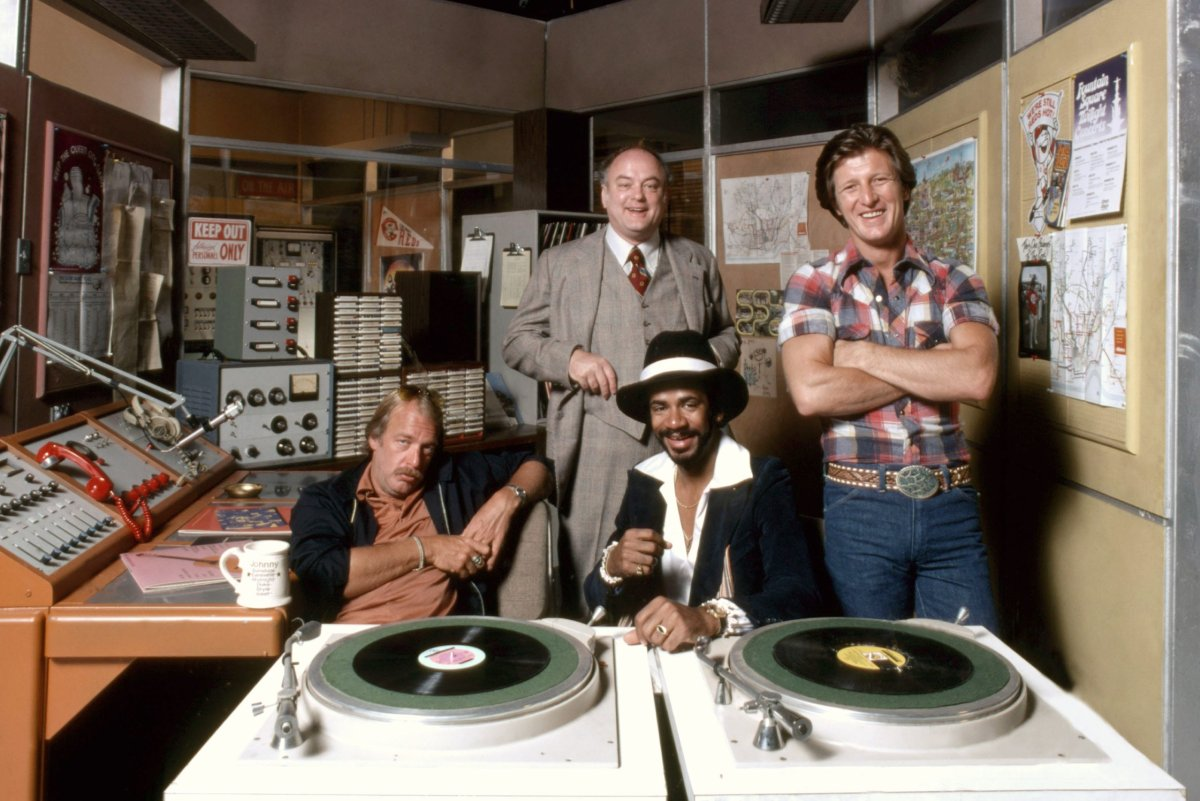 WKRP in Cincinnati cast members, from left, Howard Hesseman, Gordon Jump, Tim Reid and Gary Sandy. Alan Cross says the accuracy of the show is a little hit-and-miss when it comes to portraying life at a radio station.