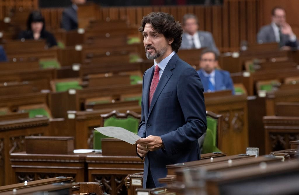 Prime Minister Justin Trudeau responds to a question during Question Period in the House of Commons on Parliament Hill Tuesday May 26, 2020 in Ottawa. THE CANADIAN PRESS/Adrian Wyld.
