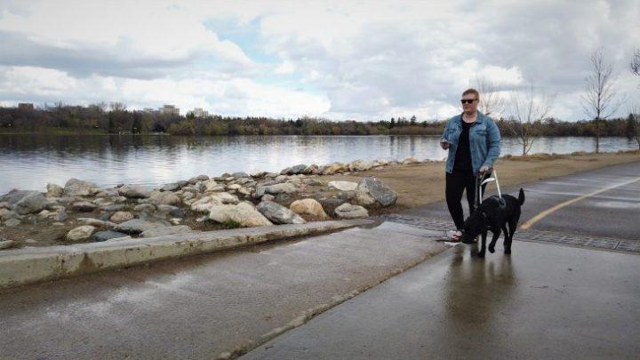 Ashley Nemeth uses the BlindSquare Event app to navigate Regina's Wascana Park independently.