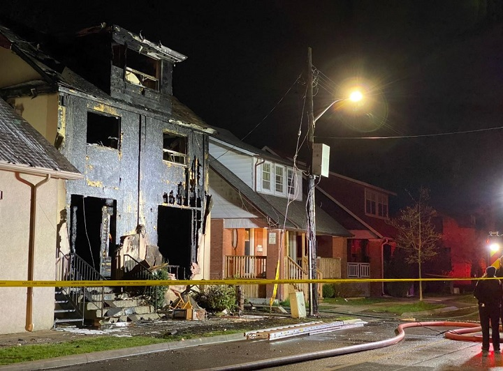 A photo from the scene of a fatal house fire on Mill Street in Brampton, May 7, 2020.
