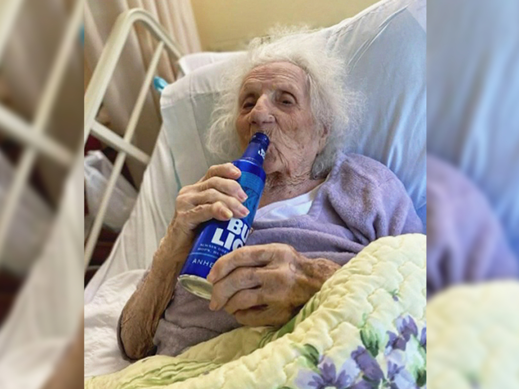 Jennie Stejna, 103, celebrated beating COVID-19 by cracking a cold Bud Light.