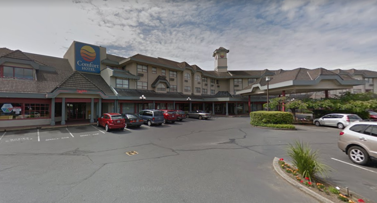 The province has purchased the Comfort Inn at 3020 Blanshard Street in Victoria to temporarily house residents of two area homeless camps.