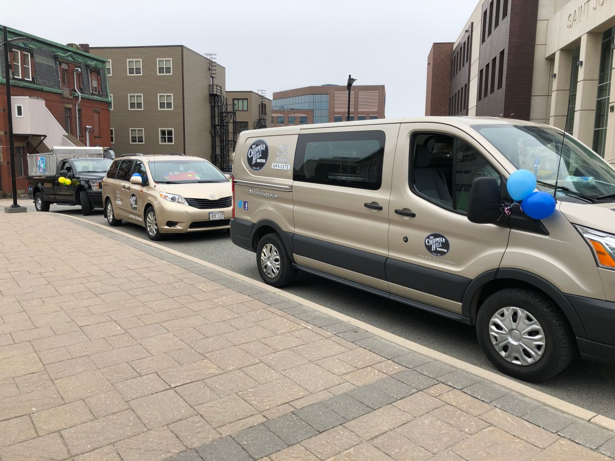 A convoy of vehicles from Chipman Hill Suites in Saint John, New Brunswick, on tour in the city, thanking essential workers during the COVID-19 pandemic.